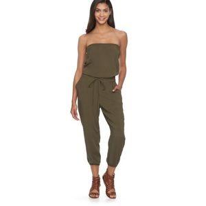 Mudd olive green strapless jumpsuit